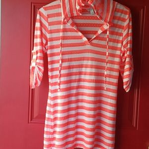 🍭SALMON PINK LACE & WHITE STRIPED COVER UP